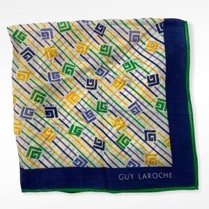 Vintage Guy Laroche Blue Green Yellow Logo Scarf